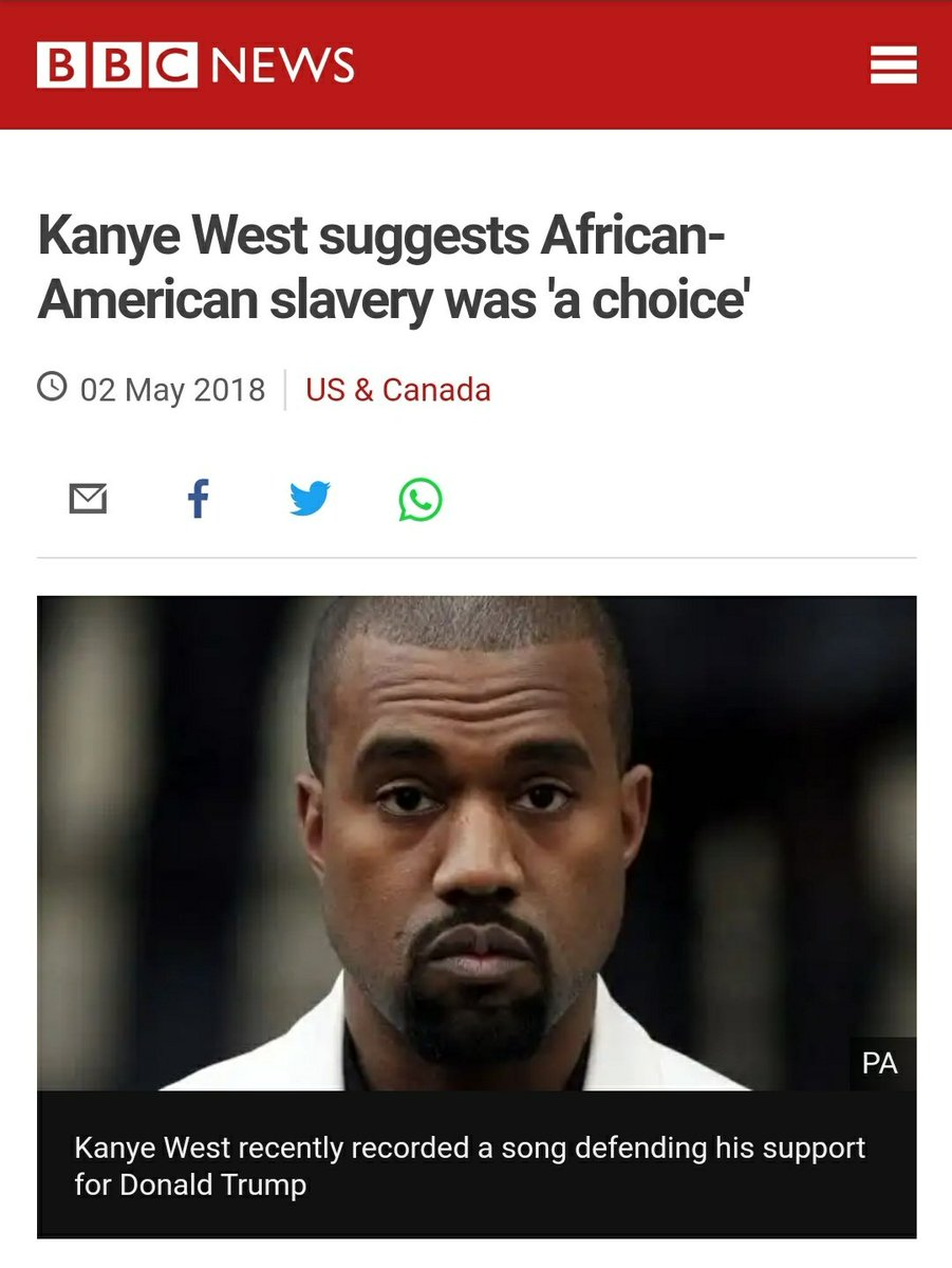 Friendly reminder that Kanye West said that slavery was a choice just in case you are considering voting for him.  #2020Vision https://t.co/6hBgFn1dI4