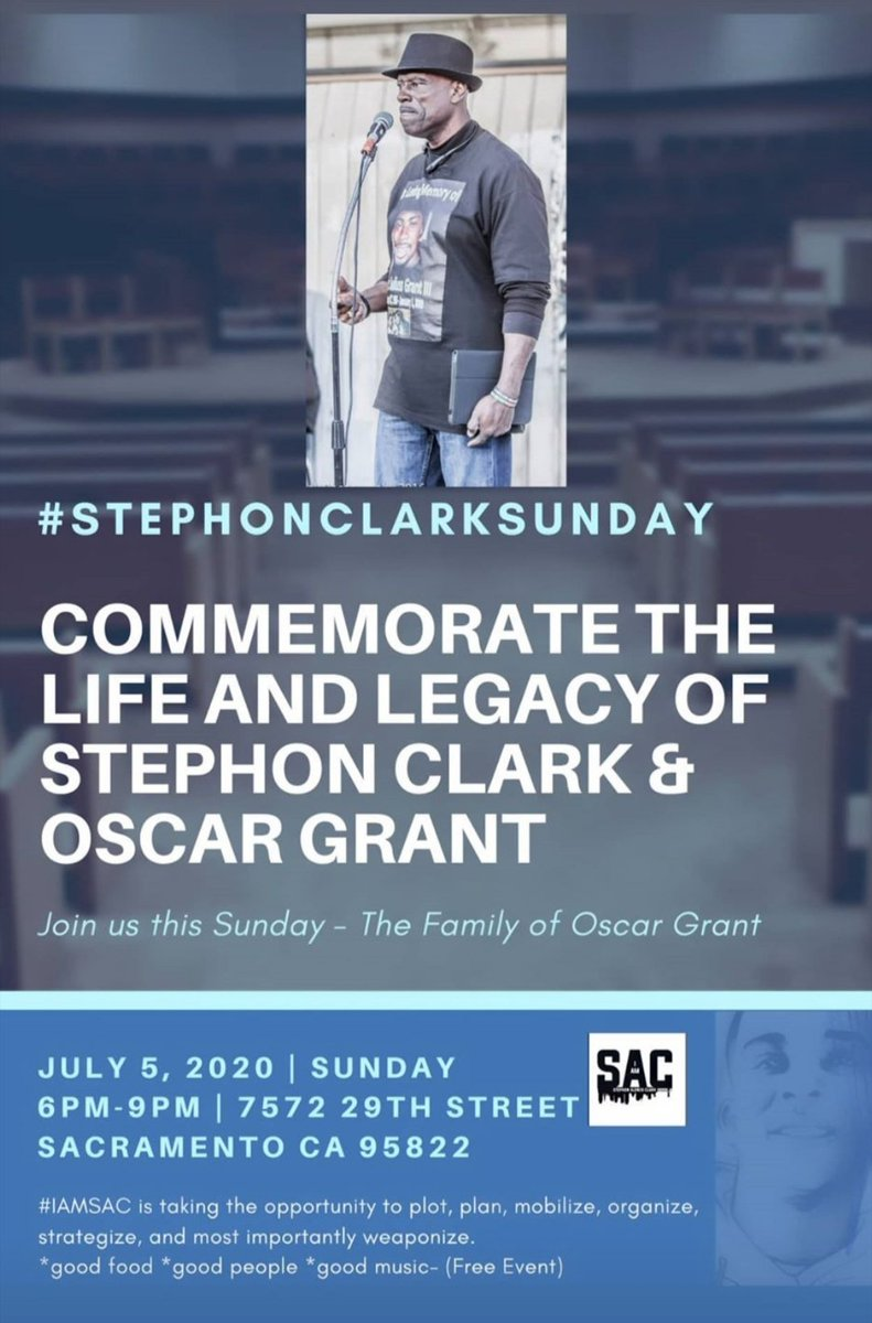 #StephonClarkSunday tomorrow in #Sacramento. Be there. #BlackLivesMatter #StephonClark https://t.co/IbcuTT4F7F