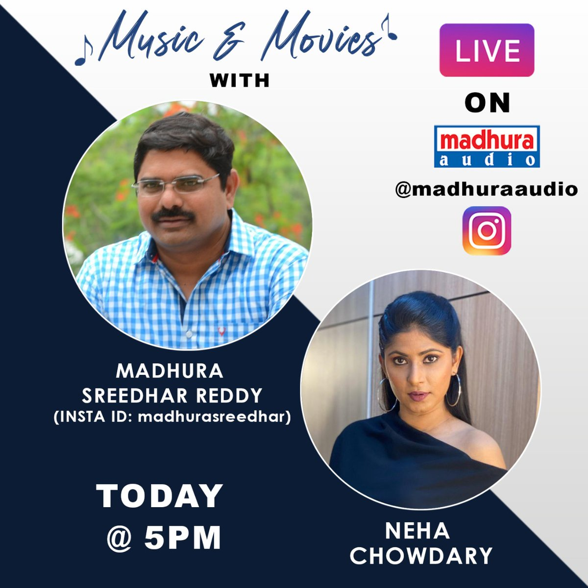 Look Here Who's Joining With Us In Live The Most Lovable Person And Producer @madhurasreedhar Garu Will Be In Live With Anchor @thenehachowdary Today  @ 5 PM Stay Tuned To @MadhuraAudio Insta Handle  #YoursMusically #yoursmusically #telugumusically #TeluguMusic  #madhuraaudiopic.twitter.com/b1hB8hWHio