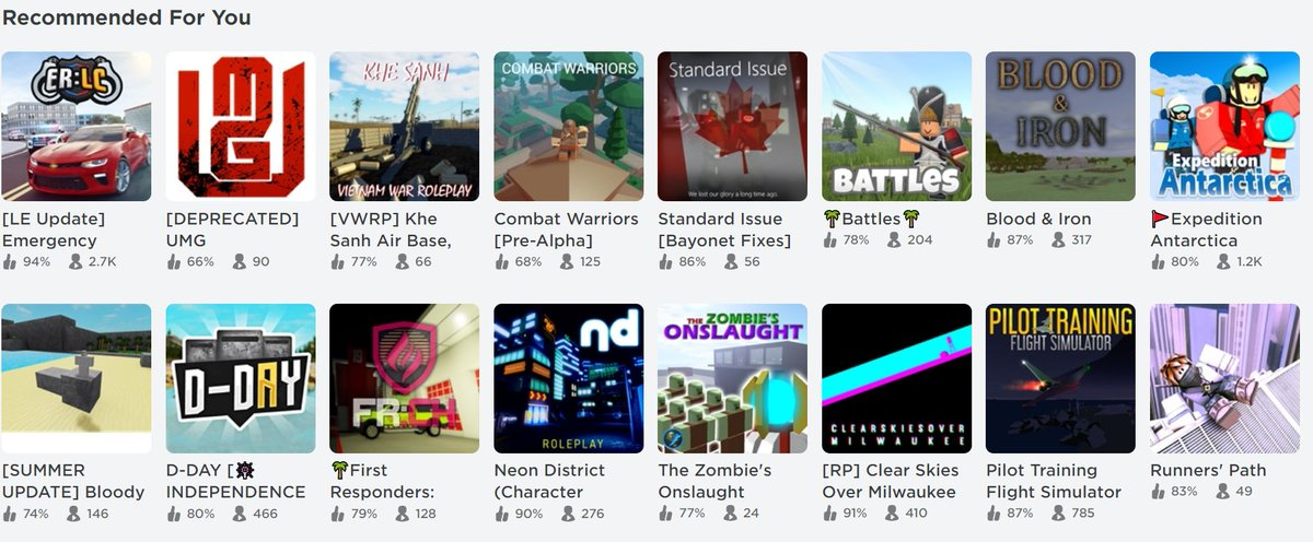 Lord Cowcow On Twitter Roblox S Recommended Game Sort Finally