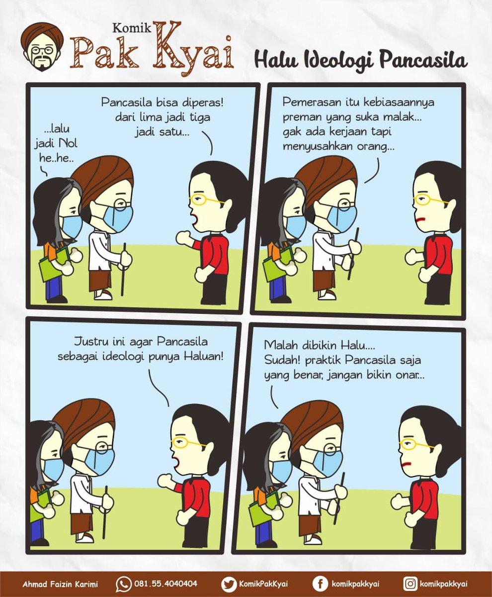 Komik Pak Kyai ~ edisi Halu Ideologi Pancasila  Pejabat negara dibayar besar, harusnya berpikir dan bertindak benar. Bukan malah suka bikin onar. Mereka dianggap rendah praktik Pancasila tapi selalu mengatasnamakan Pancasila. https://t.co/ElSxvKgypV