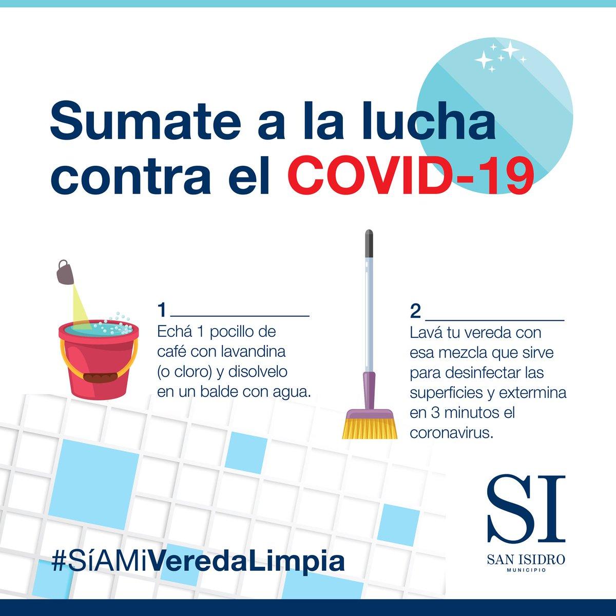 Entre todos podemos prevenir el avance del coronavirus. Te invitamos a mantener la vereda limpia utilizando lavandina. #SíAMiVeredaLimpia #Prevención #Coronavirus https://t.co/dawjFCCyF8