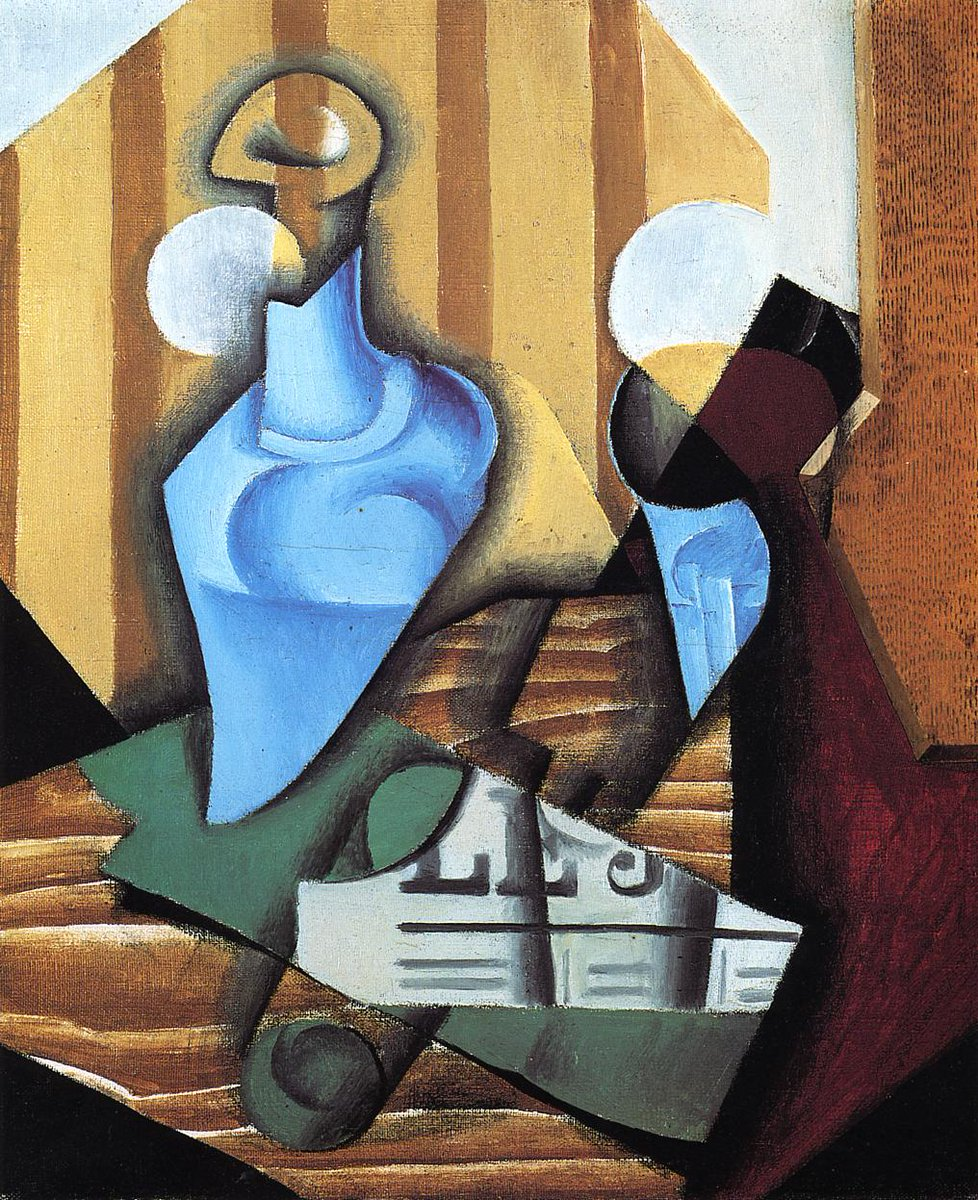 Still Life with Bottle and Glass, 1914 #juangris #syntheticcubism<br>http://pic.twitter.com/if7lI3X81Q