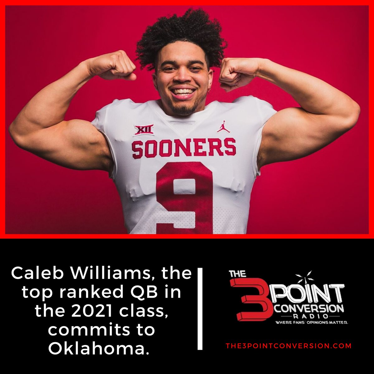 Caleb Williams, the top ranked QB in the 2021 class, commits to Oklahoma. Williams chose the Sooners over LSU, Maryland and Buffalo.   #CollegeFootball | #BoomerSooner | #3ptcnvrsnpic.twitter.com/NbxcZkAZqj