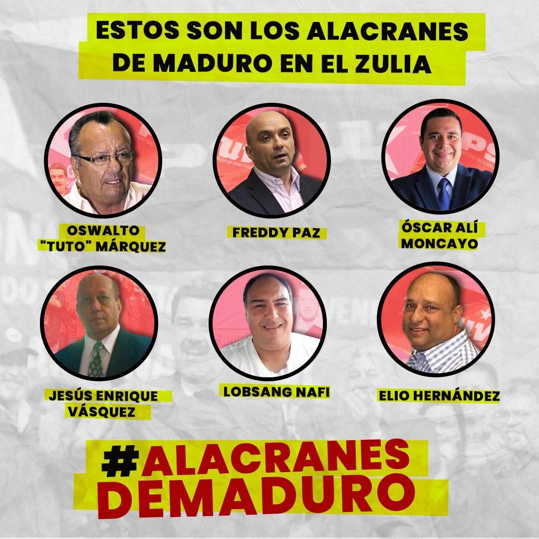 Zulianos, estos son los rostros de quienes por cobres, están dispuestos a vender la posibilidad de progreso y libertad. Veanlos, no son más que unos miserables indignos de llevar a Urdaneta en la sangre ¡El Zulia, Venezuela y @Pr1meroJusticia no se Venden! #AlacranesDeMaduropic.twitter.com/ZdQZJ8Wdt1