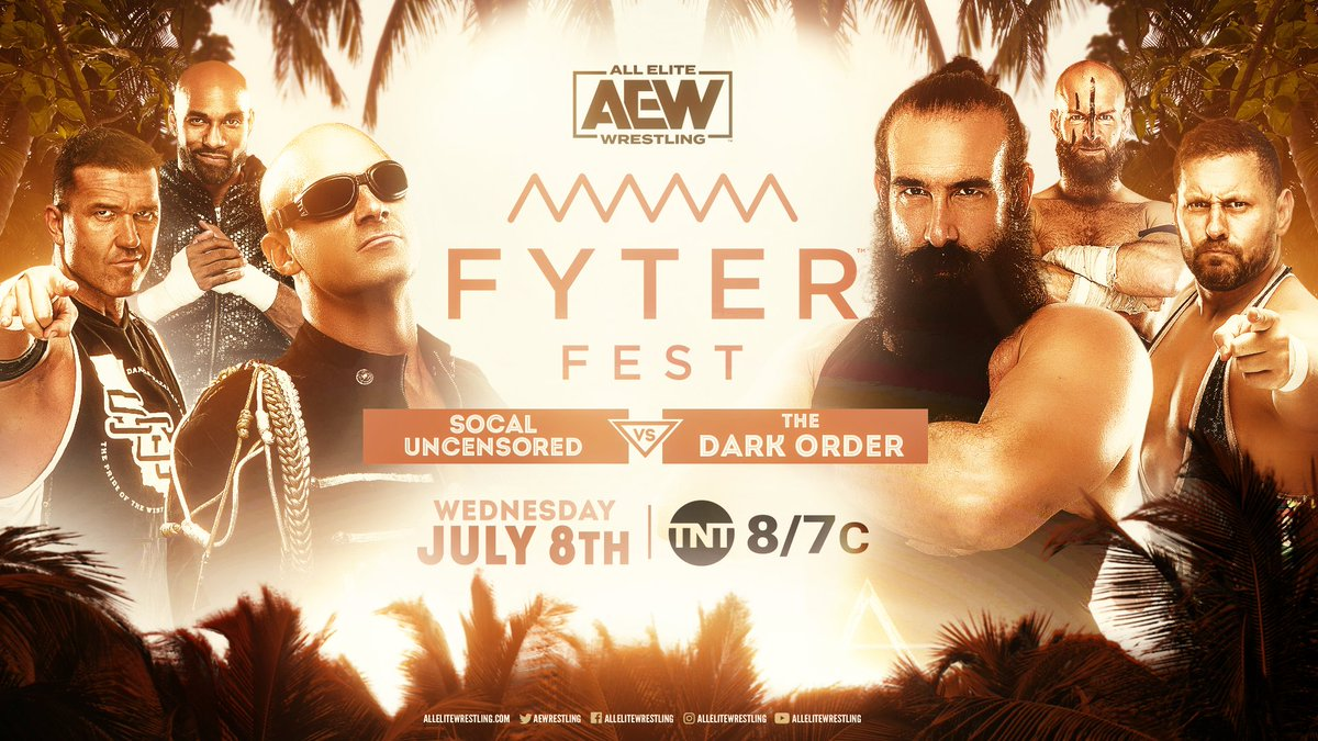 Next week on #FyterFest - Its 6-man tag-team action as #SCU face The #DarkOrder & @ColtCabana in what will be an interesting situation for Cabana. Watch night two of #FyterFest for FREE on Wednesday, July 8th, at 8e7c on @TNTDrama.