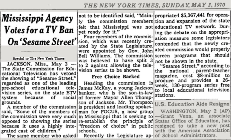 """Only 50 years ago a show created with the goal to help educate less fortunate children was removed from Mississippi television for being """"too integrated""""  Not 100, not 200, 50 years. https://t.co/2b0qJLqW9s"""