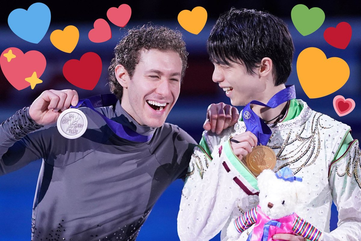 anyway what is men's figure skating i only know yuzuru and jason skating and this is the podium every comp (heart edits to @amyuzu1012 ) <br>http://pic.twitter.com/HvVE6N1toz