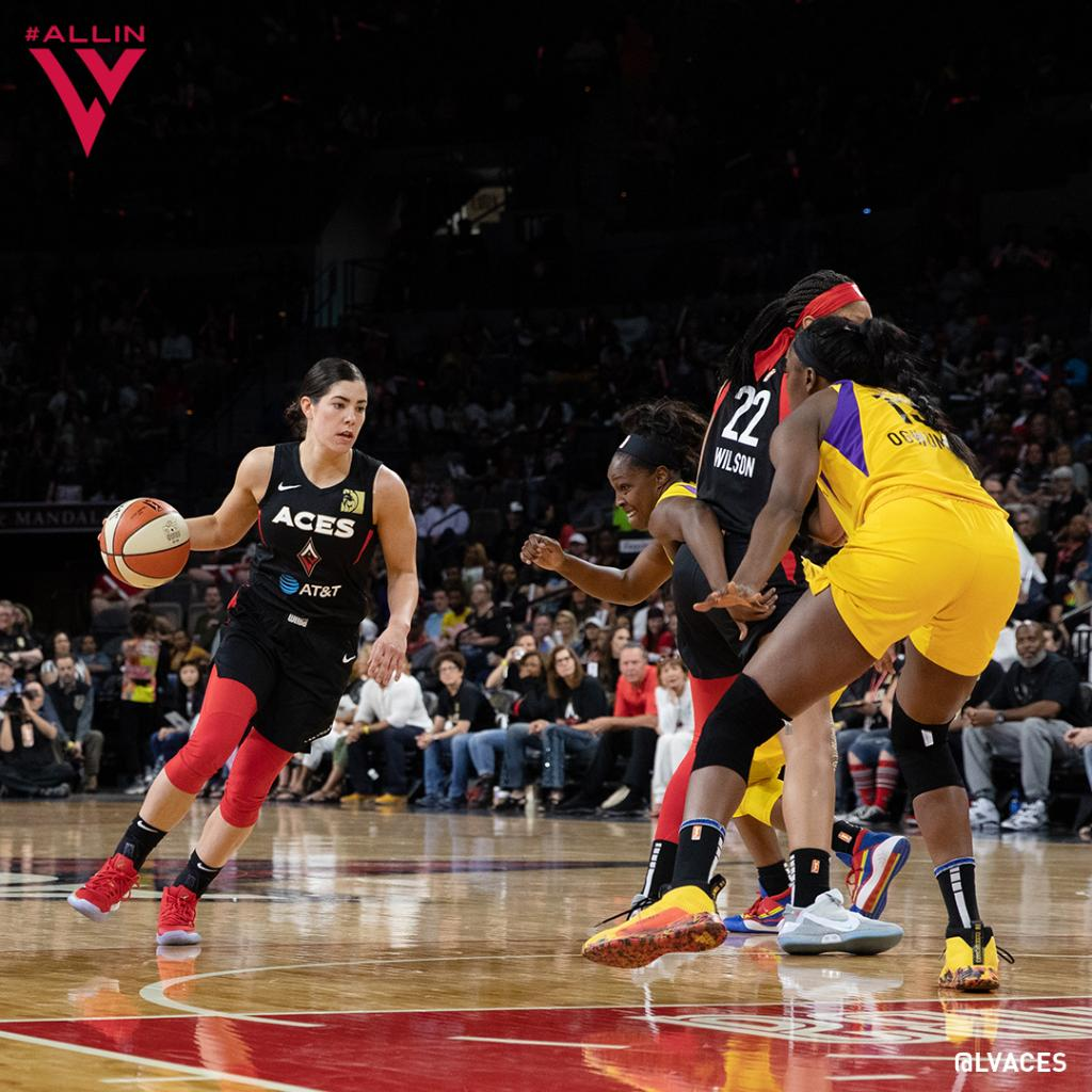 Sin City vs. the City of Angels 😉  [5.26.19] Four players scored in double digits as the Aces secured an 83-70 season home opener win.  @_ajawilson22: 21 PTS | 11 REB @kaymac_2123: 20 PTS | 7 REB @dearicamarie: 12 PTS | 14 REB @Kelseyplum10: 11 PTS | 6 AST https://t.co/pX5Zk2Zk1z