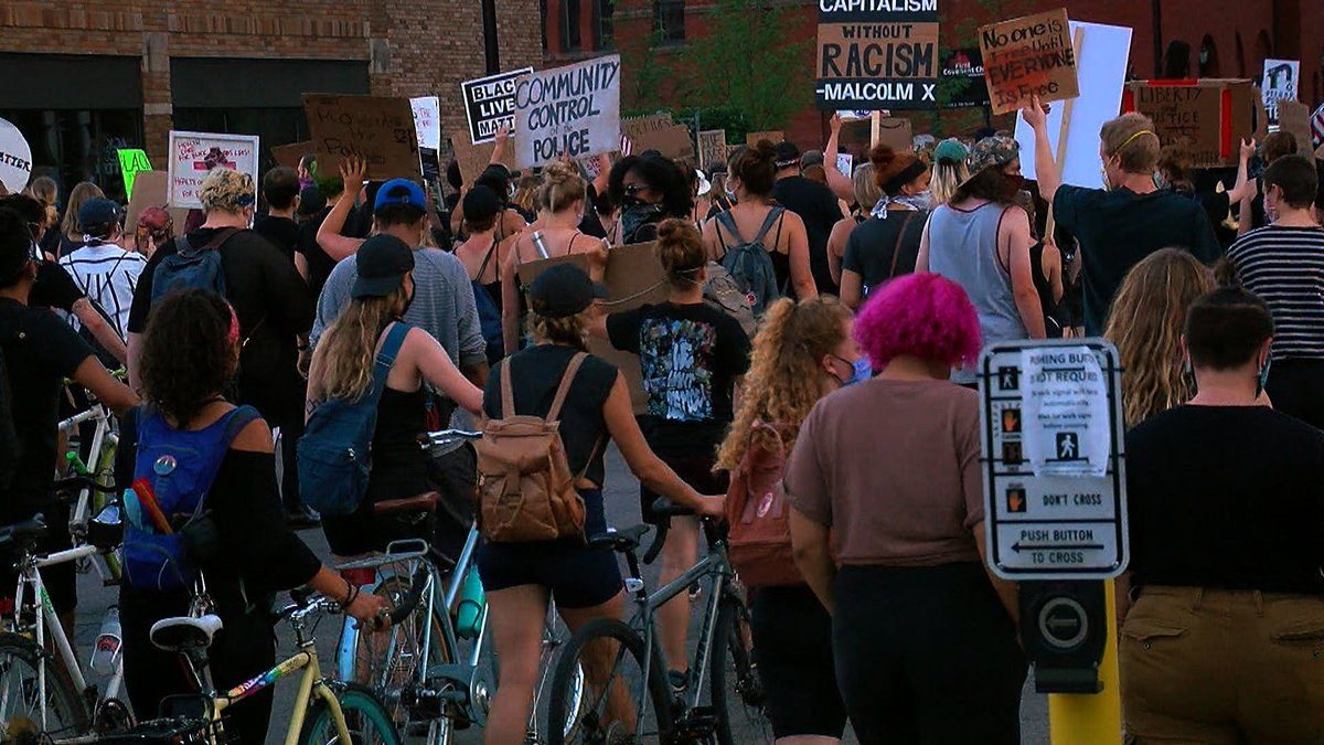 """""""What independence are you celebrating?"""" @MaxWCCO speaks to protesters and organizers of the Black 4th March in downtown Minneapolis -- led by the athlete activism group 10K Foundation. 