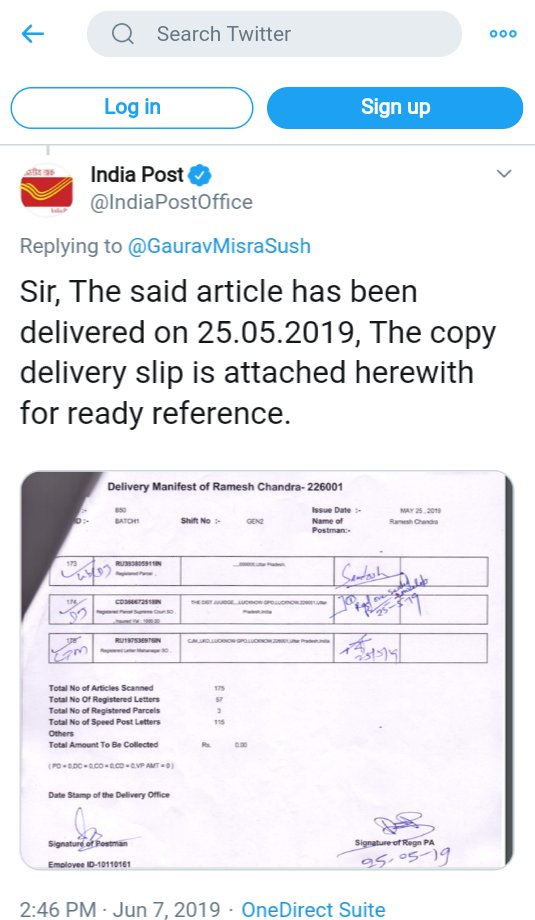 REGISTERED LETTER RECEIPT says delievery Confirmed to Hon'ble CJM LUCKNOW pic.twitter.com/elGfnoCqZJ