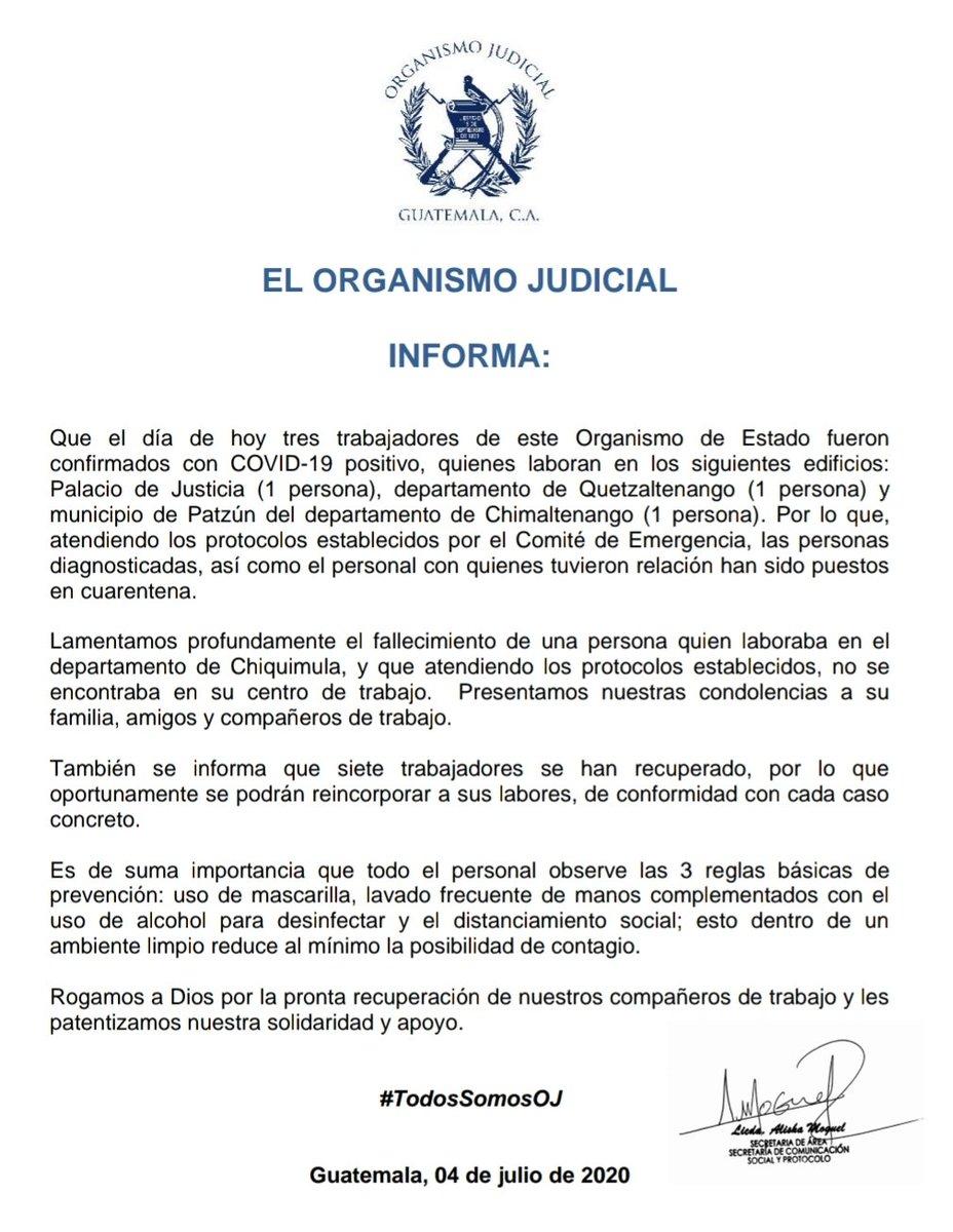 test Twitter Media - El OJ reporta la muerte de un trabajador a causa del COVID-19 en Chiquimula y tres contagios nuevos. https://t.co/PCIz7ko4QU