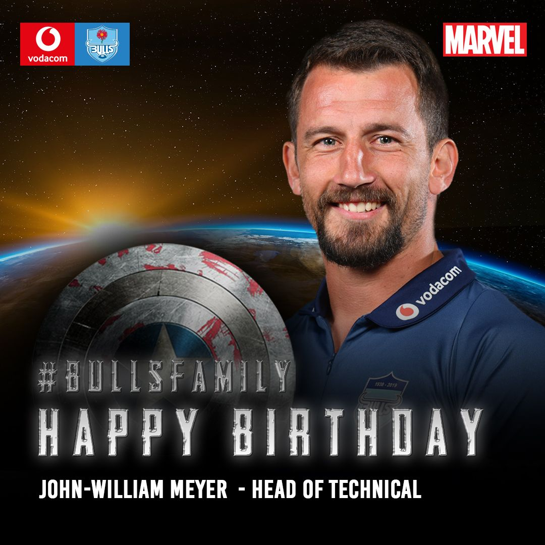 The Vodacom Bulls would like to wish John William Meyer a very happy birthday. We hope that this year is filled with great memories. Enjoy your special day. #BullsFamily