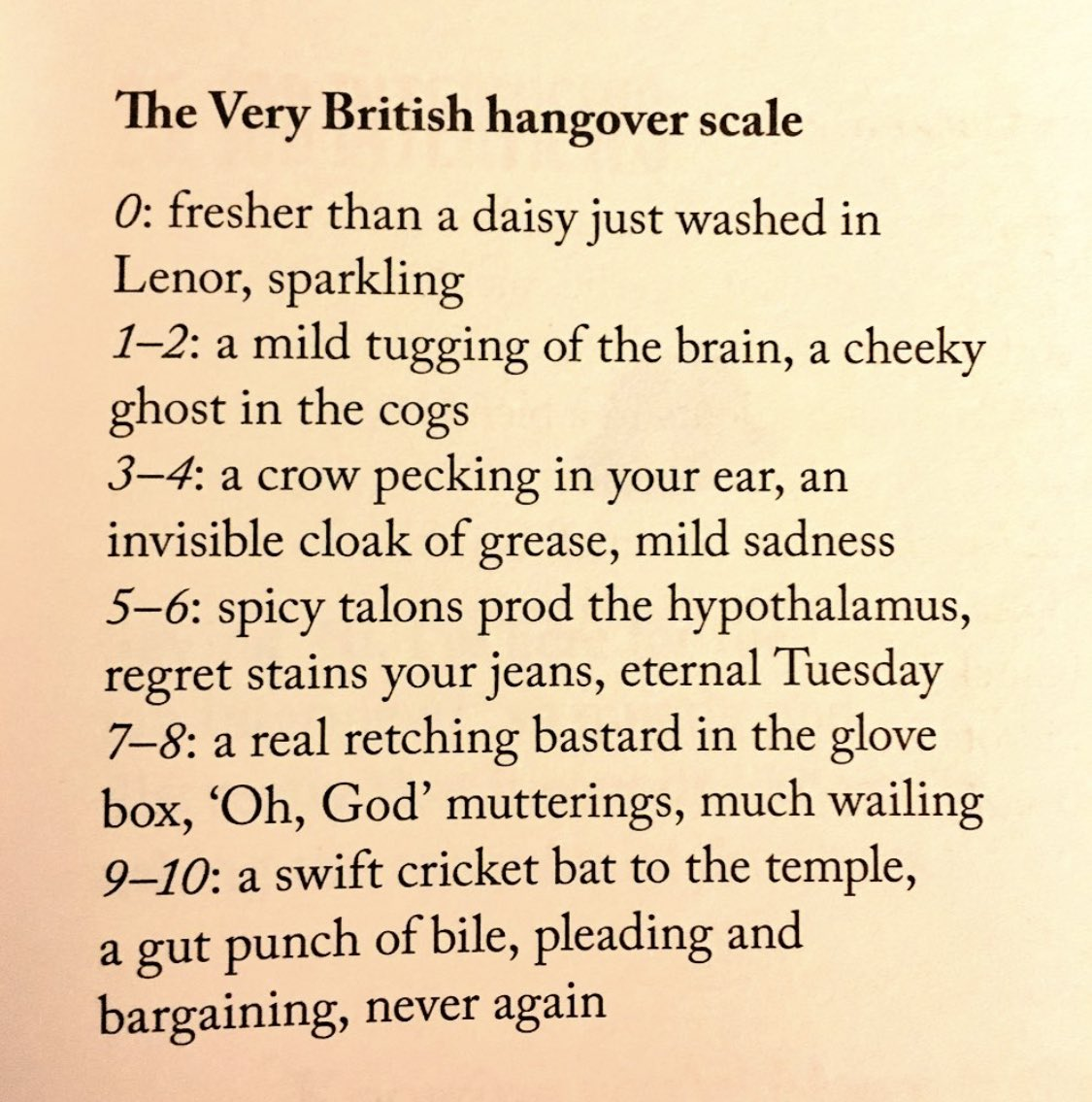 The Very British Hangover Scale. To achieve level 0, just stick to tea - much better for you ☕️  (https://t.co/ITyIovf5Yb) https://t.co/vSwhJQ2nba