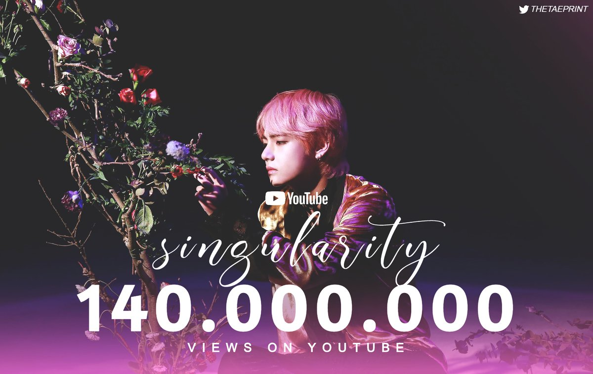 [INFO] Intro: Singularity has surpassed 140M views on YouTube, extending its record as the most viewed comeback trailer.   #Taehyung #뷔 @BTS_twt<br>http://pic.twitter.com/ulcC260X3e