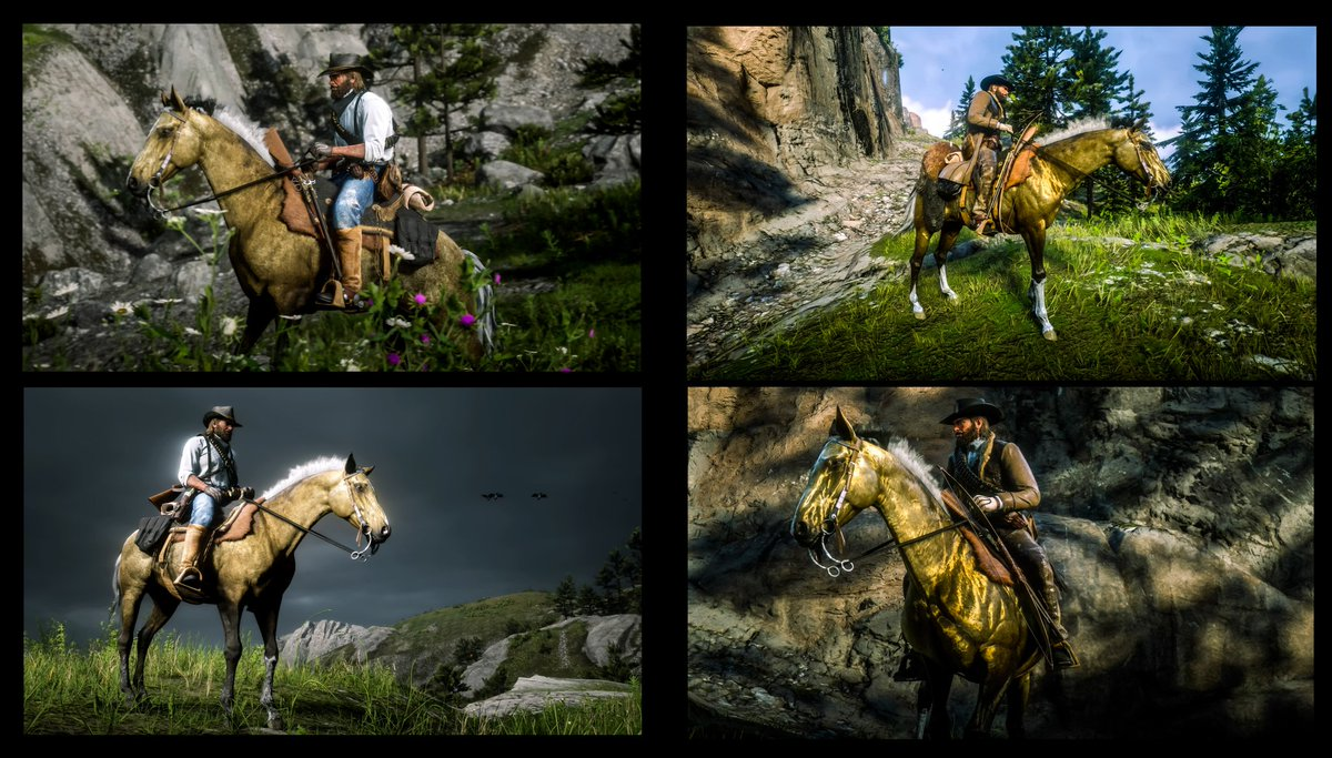 "Before the rain & after the rain with ""The Golden Horse""  Someone on Reddit asked to see a before pic so I made this real quick. Look on my feed for the OP w/ description. #RedDeadRedemption2 #VGPunite #PS4share #VirtualPhotography #VPinspire #RDR2 #PS4 #photomode #videogames https://t.co/GdqaItvcWy"