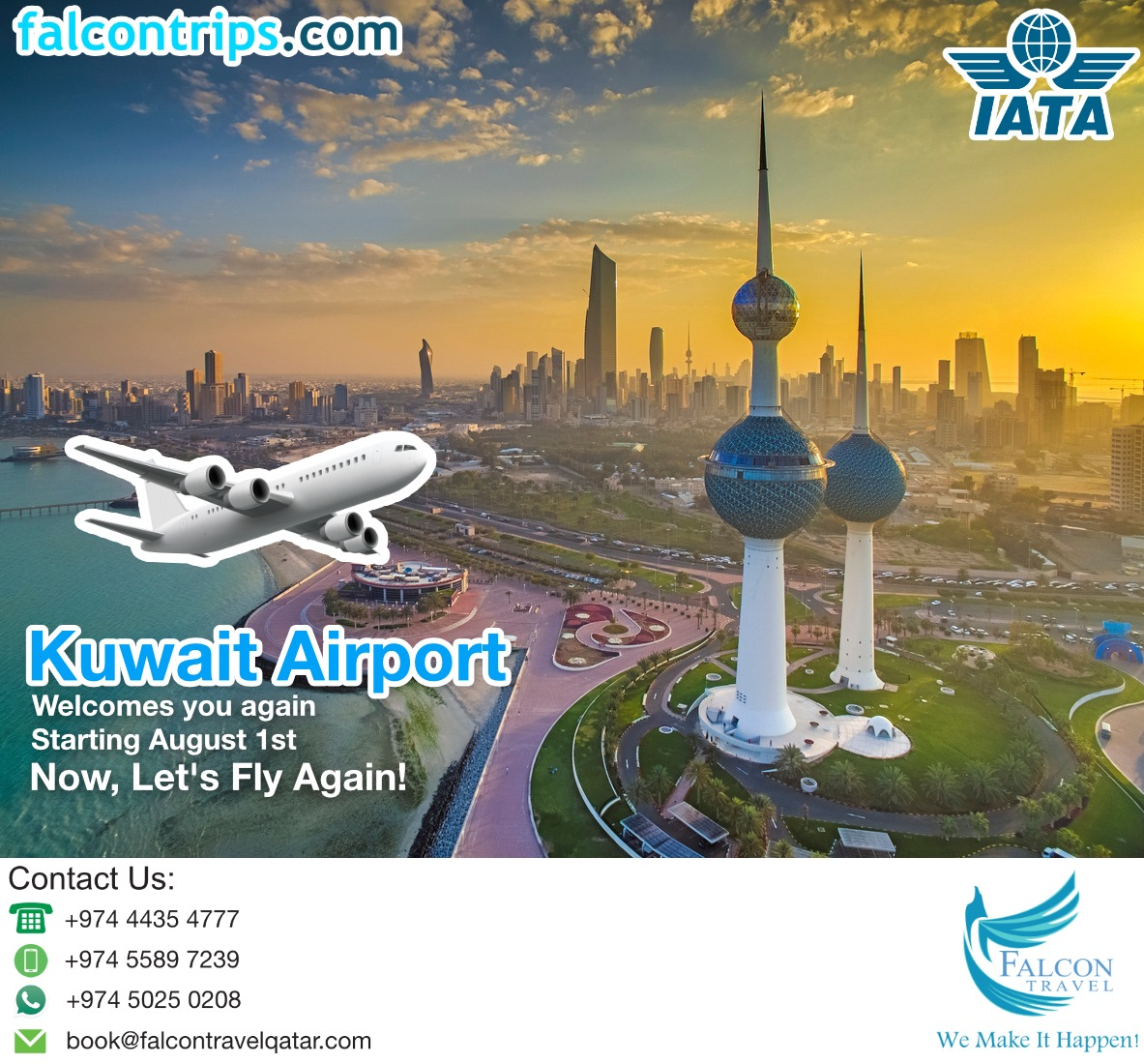 Kuwait Airport, Welcomes you again!  Starting on August 1st.  Now, Let's Fly Again!  --  مطار الكويت  يرحب بكم مرة أخرى  اعتبارًا من 1 أغسطس  الآن ، لنطير مرة أخرى!  #KuwaitAirport #Bookyourseatsnow#BookNowTravelLater  #Travelgram #TravelAgency pic.twitter.com/Zfk6GWbB0Q