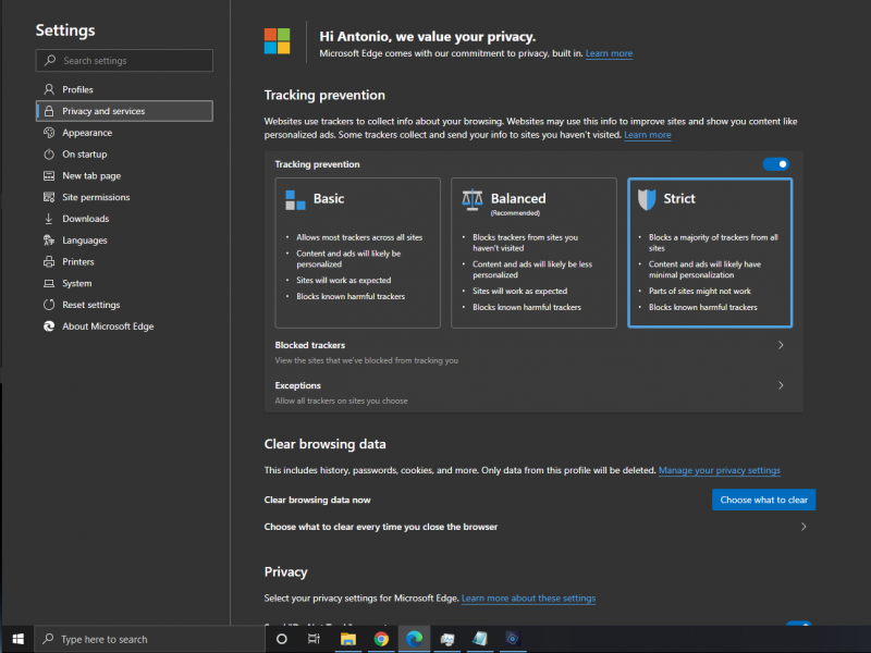 also simpler / better #privacy settings / features...  @MicrosoftEdge #newEdge pic.twitter.com/q981SyiZpW