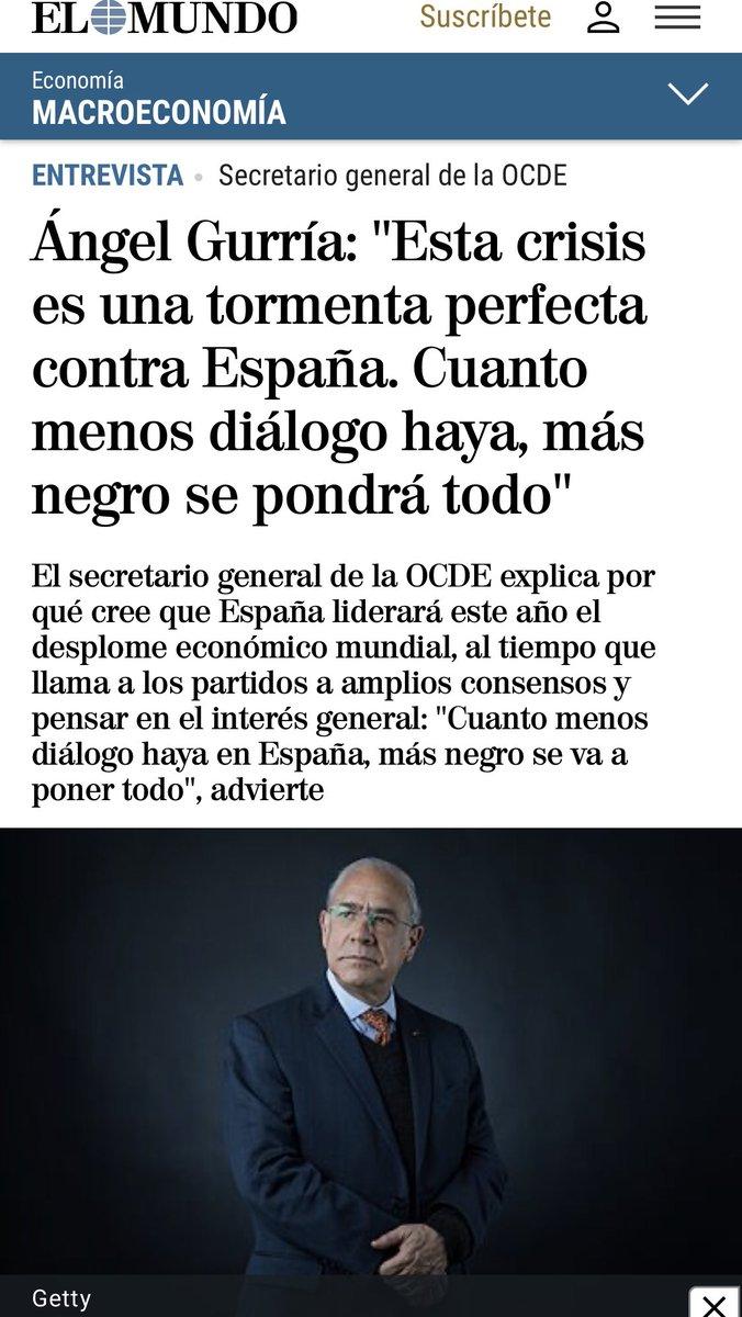 """Entrevista del SG @A_Gurria por @carlossegovia_ en @elmundoes """"En una guerra (contra #COVID19) los partidos se ponen de acuerdo y se hace el interés nacional. Estamos hablando de problemas extraordinarios. Se requiere generosidad y altura de miras.""""  👉https://t.co/IqGIMAajYF https://t.co/X6CQ5ggy0u"""