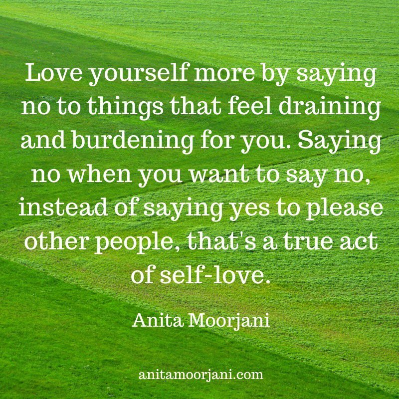 """""""Love yourself more by saying no to things that feel draining and burdening for you."""" 💚💚💚  https://t.co/MKa5c7G9QA 🌸  #AnitaMoorjani #SelfLove #SelfCare #LoveYourself #Boundaries #Purpose #Uplift #DyingToBeMe https://t.co/kEoH73vste"""