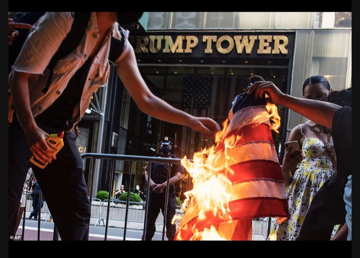 Today: We burned that rag in front of Trump Tower in direct defiance of Trump and everything he stands for.  #FlagBurningChallenge  #FTD #BlackLiveMatter https://t.co/z4KCn0yhsn