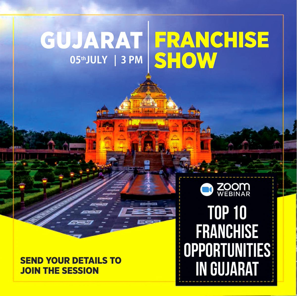 Top 10 #Franchise #Opportunities in #Gujarat! Join Our Free #Webinar Gujarat Franchise Show on 5th July | 3:00 pm to explore the opportunities.  Register here: https://t.co/H9FKpxvqcG  #event #investment #Entrepreneurs #show #business https://t.co/8p7pMTNsPw