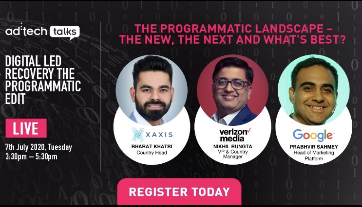 Explore the newer trends in programmatic advertising, new technologies & opportunities that the industry needs to be cognizant of with @BK_Martech from @XaxisTweets, @NikhilRungta from @verizonmedia & @prabhvir_sahmey from @Google!  Register here https://t.co/J7DlIfW4Ao https://t.co/MyFySv9H7A