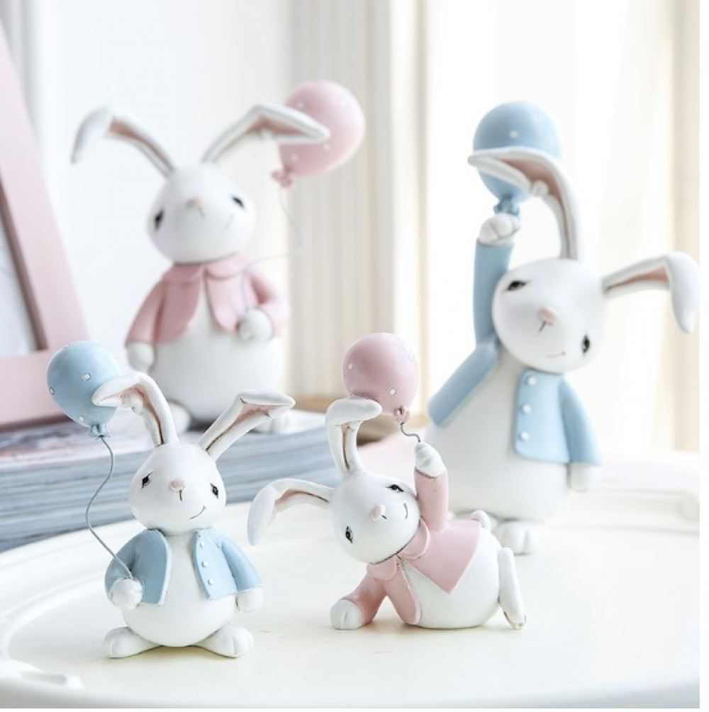 Easter Rabbits Decorative Figurines 2 Pcs Set #amazing #instamood
