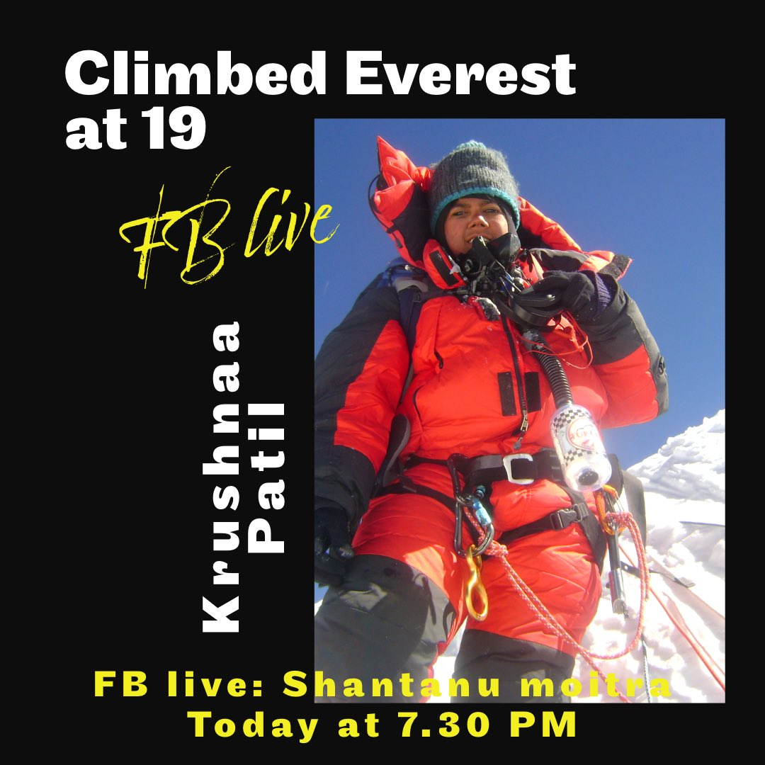 She is one of her kind . She is a climber , dancer , chef , runs a cafe in Kashmir and lives life like we see in movies ....adda with Krushnaa Patil 7.30 PM IST only on Facebook live :Shantanu moitra official #everest #kashmircafe #lovedogs #adventure @highrealities https://t.co/e8SJJmRSh0
