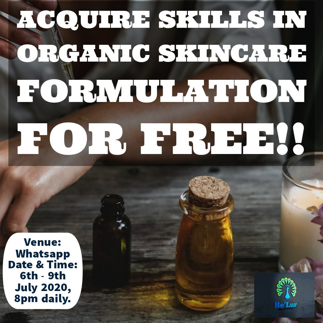 Learn how to make organic beauty/skincare products for personal or commercial use for free.  Join the introductory class on WhatsApp  using this link..   WhatsApp https://chat.whatsapp.com/HEfeQE6DNKaFjSejO3Bo8B…pic.twitter.com/8OEaYlnSnw  by DRACO MALFOY