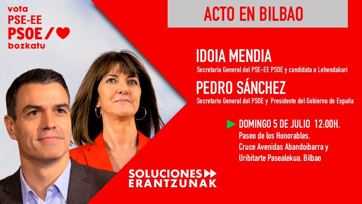 ¡Y hoy, en #Bilbao! 📣  Nuestro secretario general y presidente del Gobierno @sanchezcastejon acompaña a nuestra candidata @IdoiaMendiaen la campaña de las elecciones del #12J. 🔝🔝  Jarraitu gaitzazu gure sareetan! 👩🏽💻👨🏻💻  ▶️ https://t.co/YRin1SGYhM  #IdoiaLehendakari 🌹 #VotaPSE https://t.co/wBVKS8SQDl