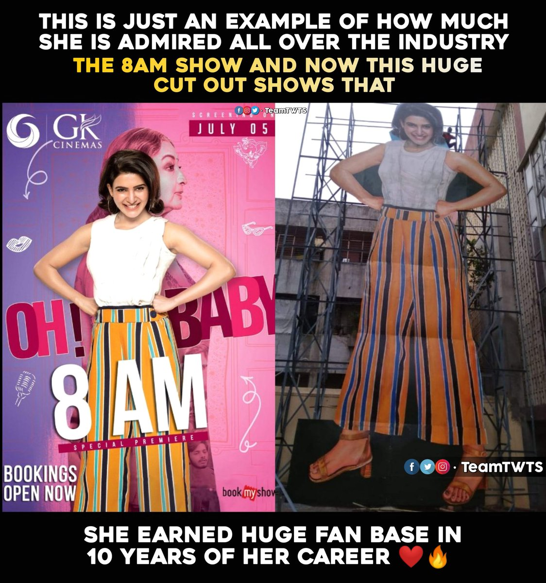 For the first time, a Telugu heroine-centric film gets early morning 8 AM show in Chennai..    Cutout of 40ft at Devi 70mm HYD! More power to you Baby @Samanthaprabhu2!    #1YearForBlockBusterOhBaby<br>http://pic.twitter.com/HJFHFt30GA