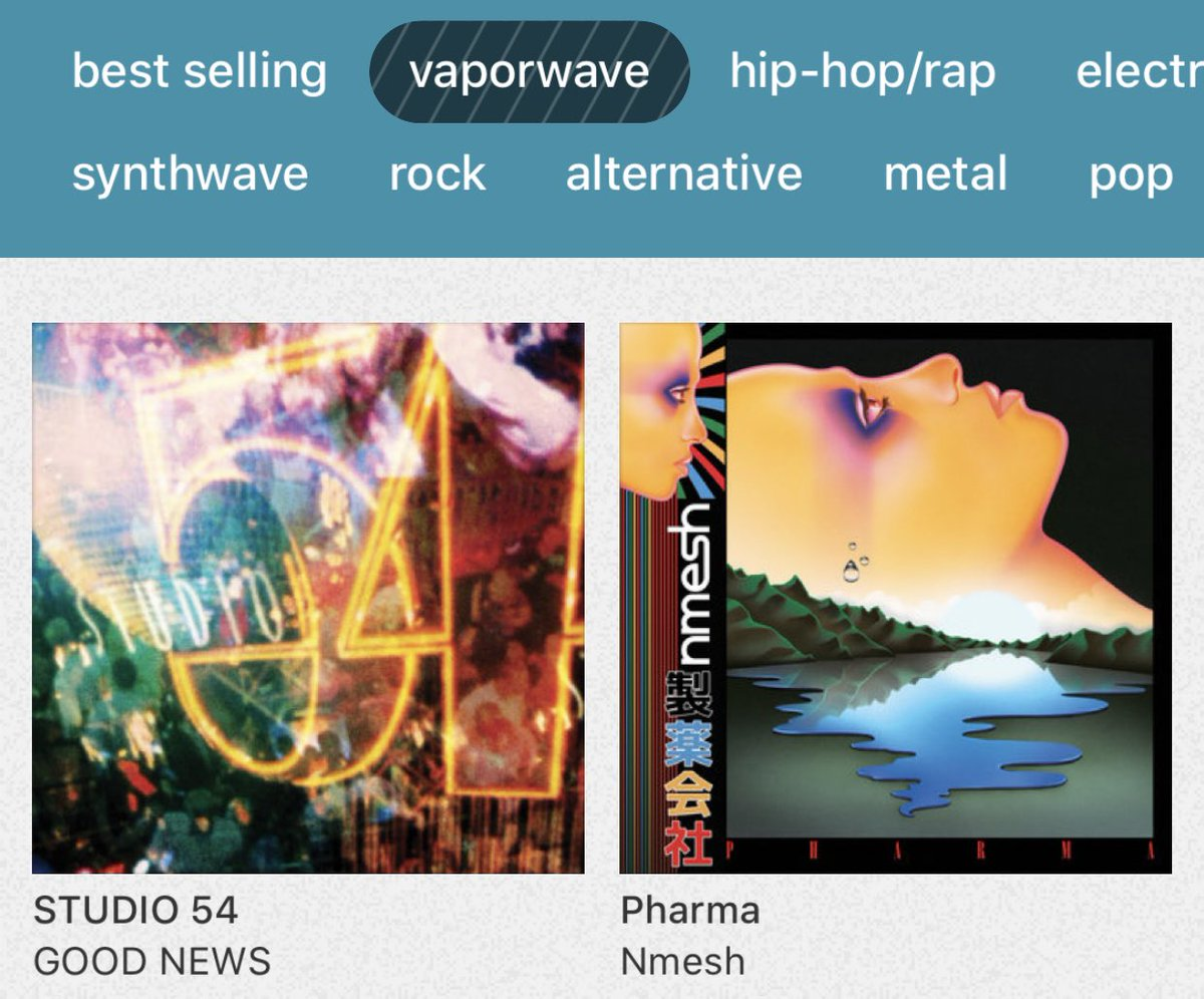 STUDIO54 is the top selling Vaporwave album this weekend along with Pharma by @nmeshofficial! Great company and two classics for the scene to drop on the same weekend pic.twitter.com/UMWpYkbki8