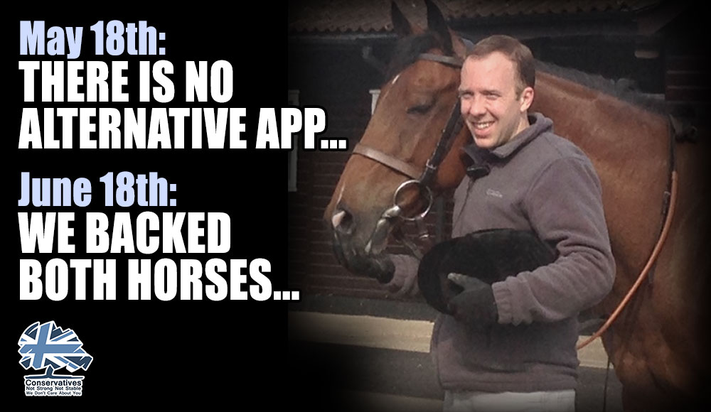 Matt Hancock: there is no alternative app Just a month later, with his app failed, he claims he backed both horses, but wont give details on the alternative Where is it? The lies just keep coming. This is a public health emergency, transparency is essential! #Marr #Ridge