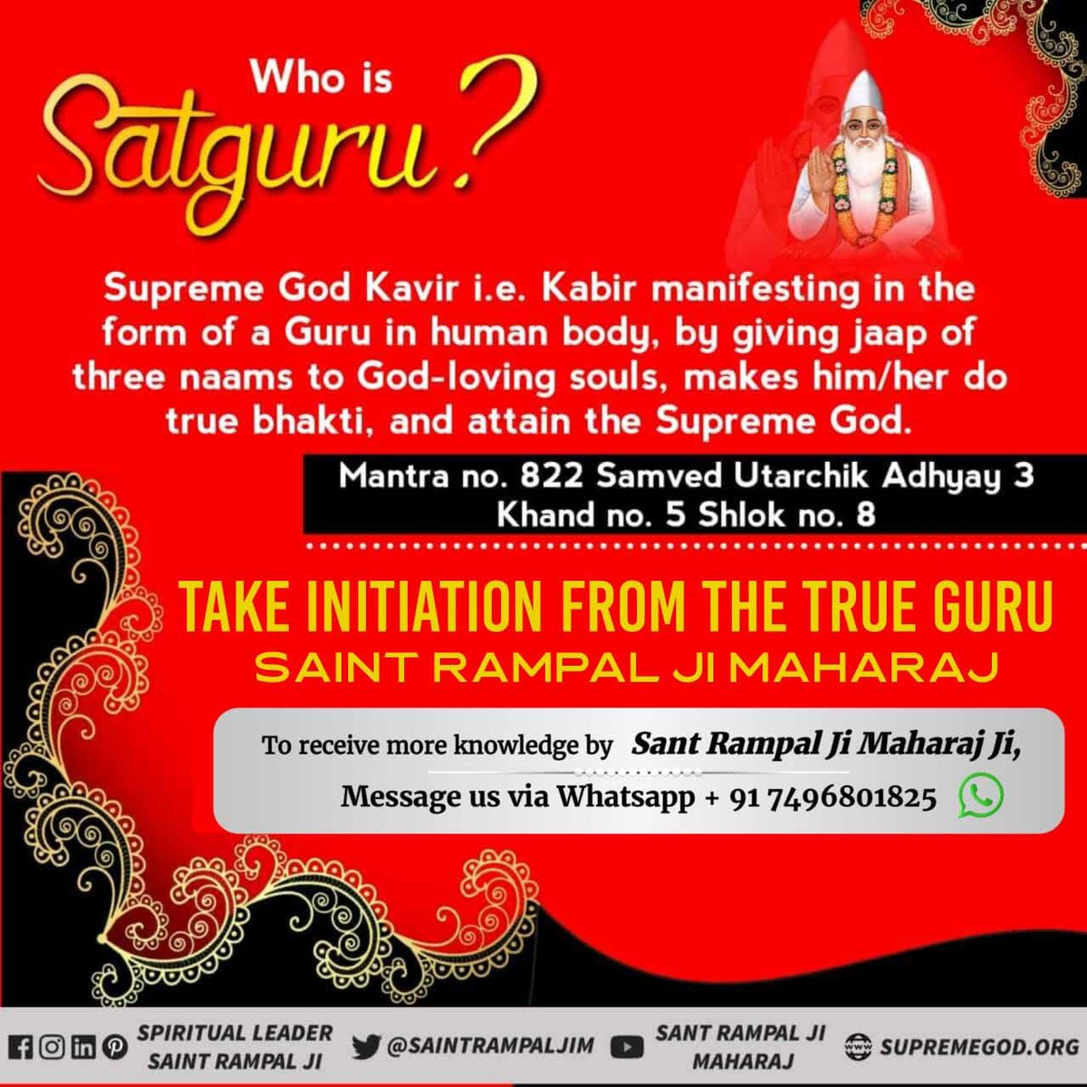 #GuruPurnima Satguru is not only a Preacher of Knowledge, He Himself also does Scripture-based Worship with mind, deeds, and words and gets His disciples to do Worship with the same Dedication.   Presently, Sant Rampal Ji Maharaj does this. #JagatGuru_SaintRampalJipic.twitter.com/oX4v06LegZ  by ☔
