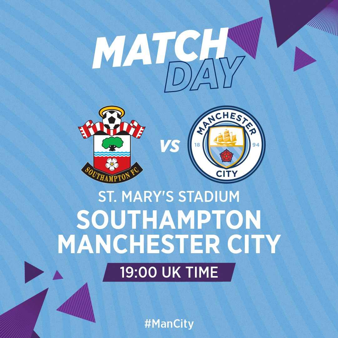 👊 MATCH DAY! 👊  🆚 Southampton (A) 🏆 @premierleague  🏟 St. Mary's Stadium ⏰ 19:00 BST  🔵  #ManCity https://t.co/g3r9965DtG