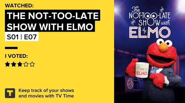 The Not-Too-Late Show with Elmo - S01 | E07 on #TVTime #NotTooLateShow #HBOMax https://t.co/3TDdBCFuGe https://t.co/dsYLn2JWj7