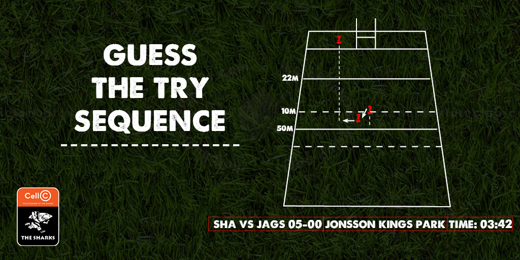 Can you guess which of #OurSharks players were involved in this sequence of play?🏉 _________ passes the ball to the left, _______ makes a quick pass outside to_________ who outruns the defenders and scores the Sharks first try of the night! Comment your answers below⬇️