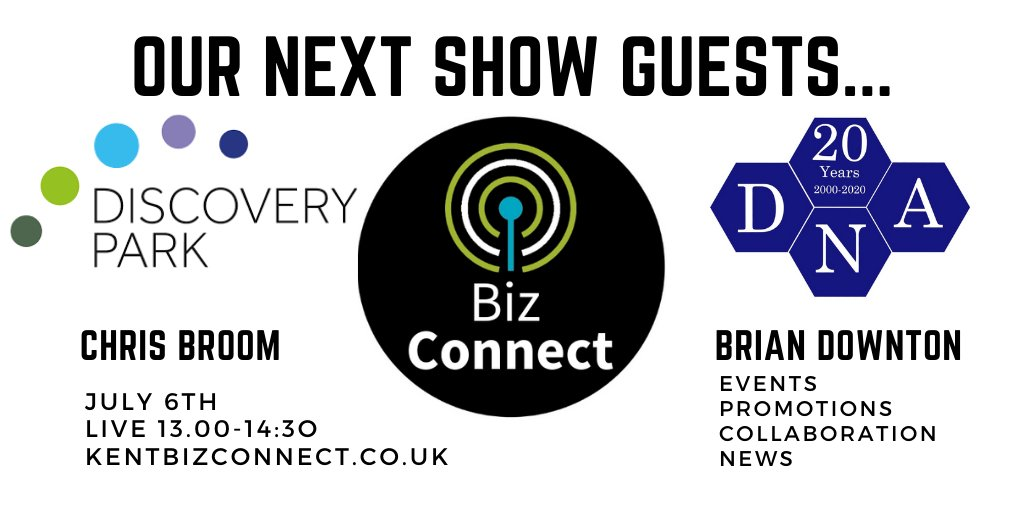 Next Week's Guests; Chris Broom Head of Business Development for Discovery Park @DiscoveryPark_ & Brian Downton from Financial Planning experts Downton & Ali Associates @Downtonandali. Tune in LIVE at 1pm https://kentbizconnect.co.uk/ for all your #Business #News!pic.twitter.com/QhBSVmbMfY