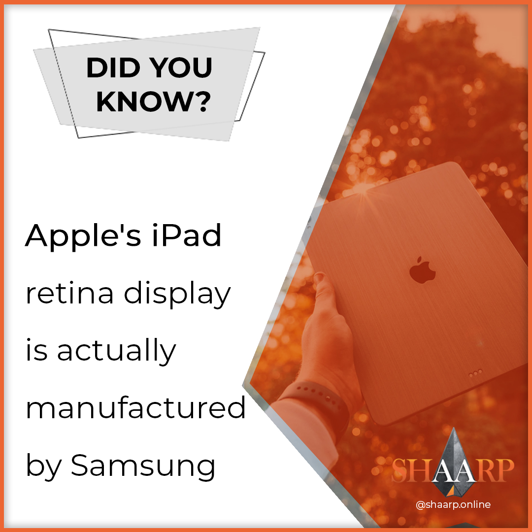Did you know that Apple's iPad retina display is actually manufactured by Samsung? #shaarpshareconnectevolve #shaarp #shaarponline #share #connect #evolve #mind #body #soul #self #bodymindsoulself #aduarte7 #adlegacy #lifecoaching #coach #keytosuccess #businesslifepic.twitter.com/cuKWR3m85H