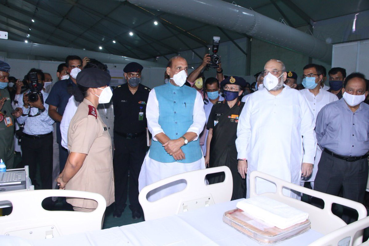 Accompanied @DefenceMinIndia Sh @rajnathsingh Ji & @HMOIndia Sh @AmitShah Ji on a visit to 1000-bed Sardar Vallabhbhai Patel #COVID Hospital Kudos to @DRDO_India & #TataSons for creating this facility in a record time of 11 days. Delhi CM Sh @ArvindKejriwal Ji was also present.