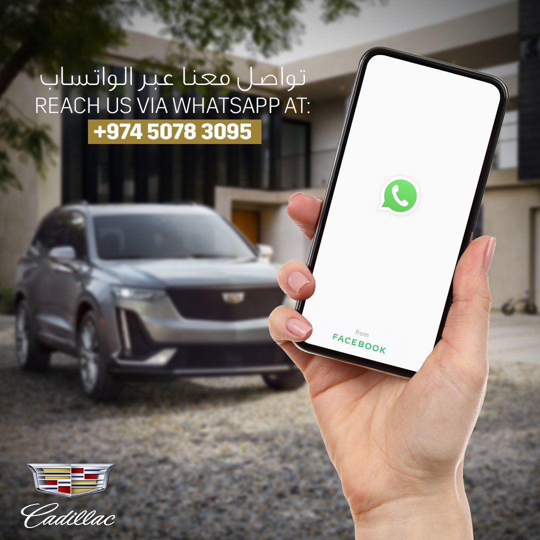 You can now reach us via Whatsapp at: +974 5078 3095.  From Sunday till Thursday, 8:30 AM till 8:30 PM. #CadillacQatar #Cadillac #Doha  #Qatar #Luxury #luxury_cars #premium_cars #car_sales #qatar_cars #buy_a_carpic.twitter.com/hvUuz3ppIk
