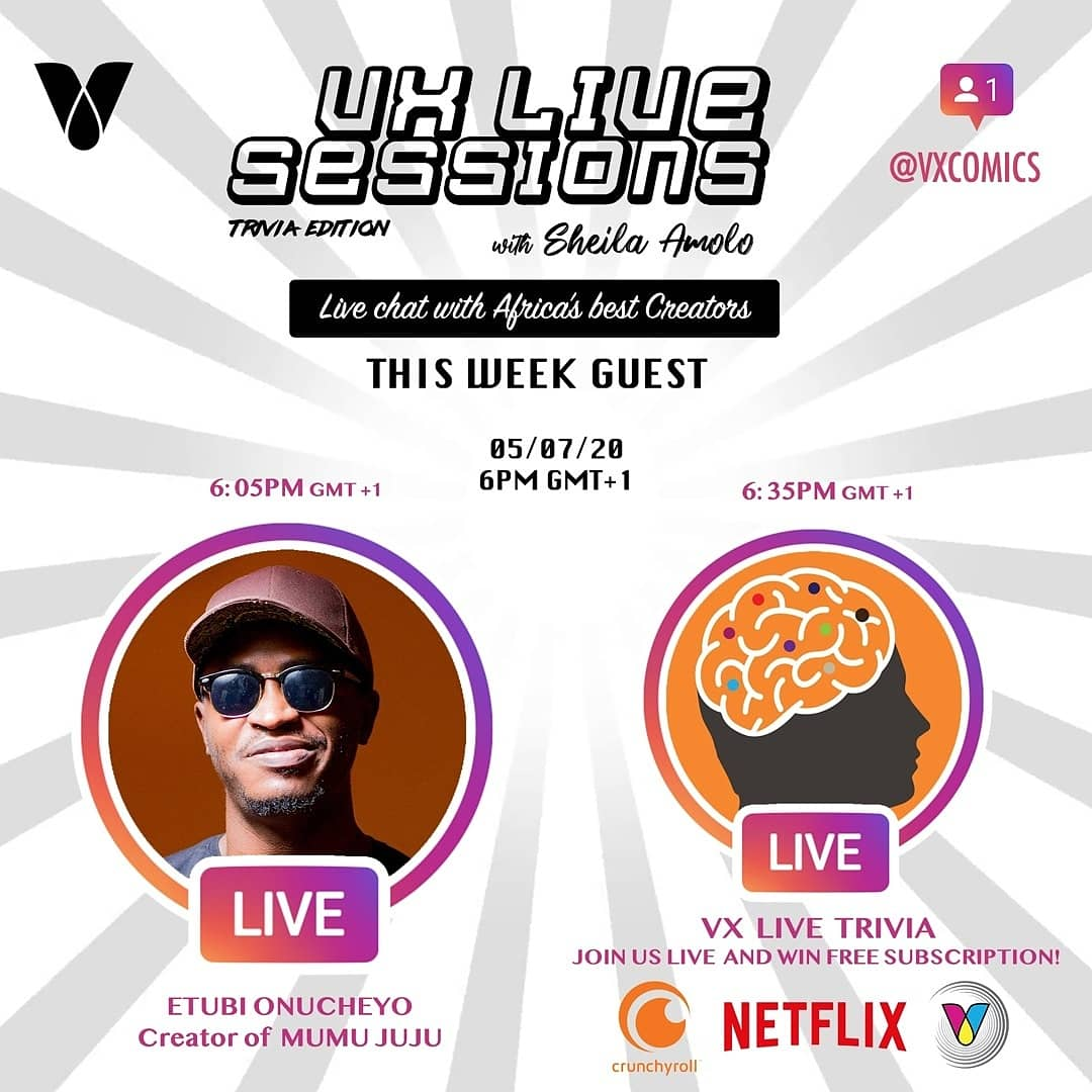 Tonight at 8PM EAT (Nairobi) on #VXLiveSessions we speak with Etubi Onucheyo about Mumu Juju and there after we have the speed trivia with prizes to be awarded. Catch this on @vxcomics Instagram Live at 8pm EAT.  #Comics #Africa #VXComics #VX https://t.co/csGHUvQQf6