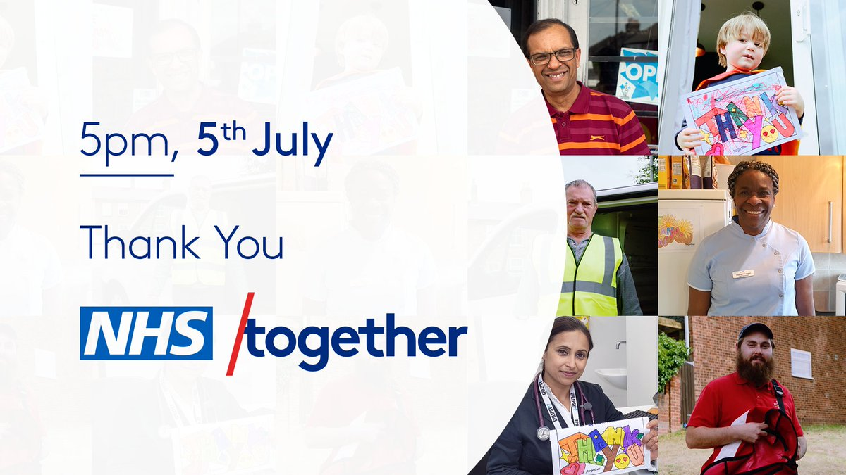 This year, on the NHS' birthday, Sunday 5th July, we'll be saying thank you to everyone who has helped us during this crisis with the biggest #ClapForCarers yet.  It's time to say #ThankYouTogether.  Make sure your thank you is heard: https://t.co/MFQtLmptDG https://t.co/FVm4T7G9B4