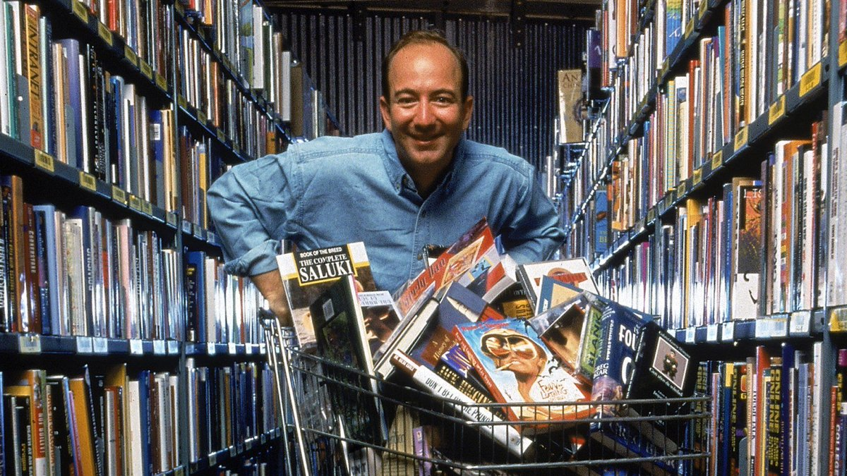 """#OTD in 1994, Jeff Bezos founded @Amazon as an online book store. Originally he named his company Cadabra, Inc., but changed it after realizing it sounded too similar to """"Cadaver"""".  He finally settled on """"Amazon"""" as a nod to the largest river. #innovation #companyhistory https://t.co/KXU5QBuEl3"""