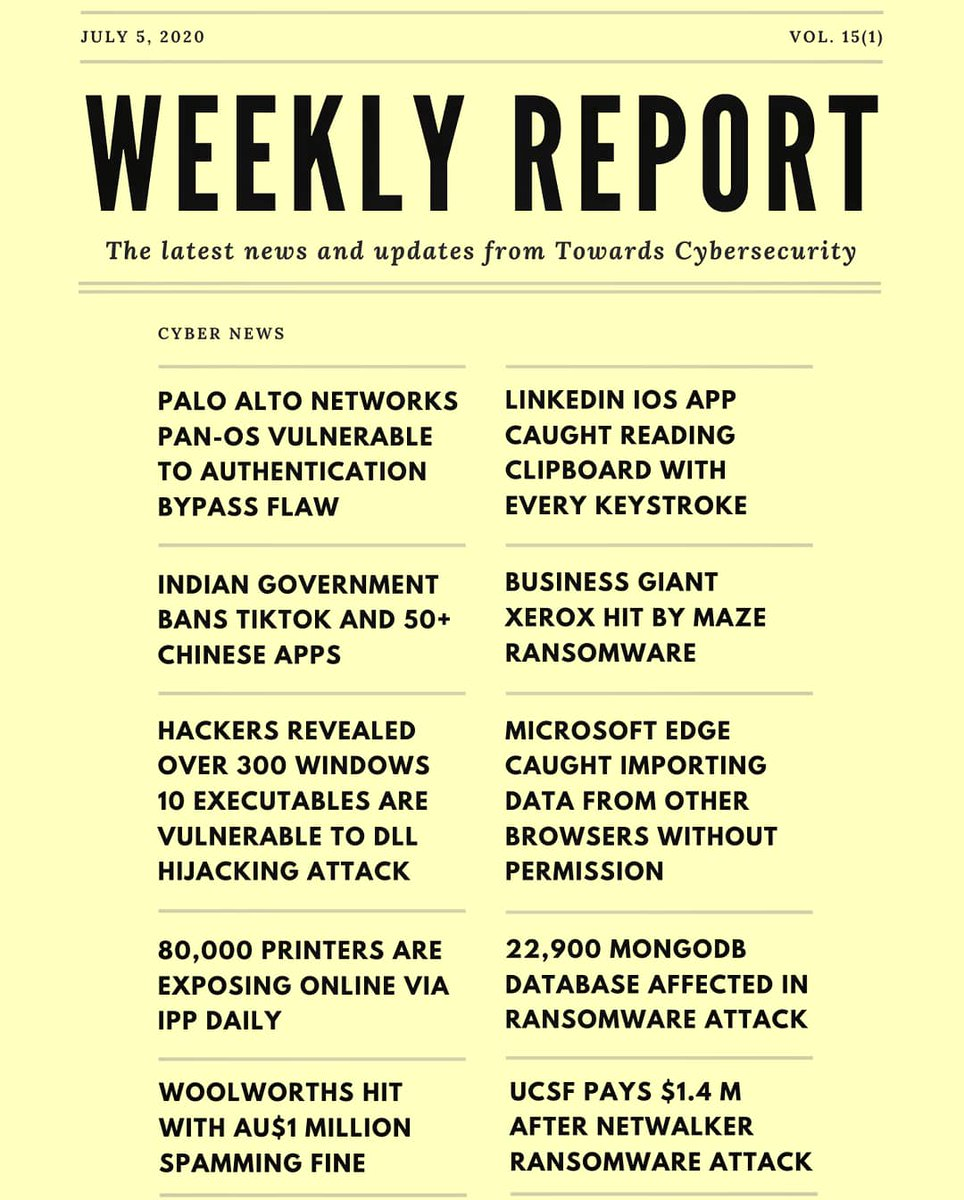 Weekly Report 🗒️  Follow For More >> @TowardsCybersec   #cybersecurity #privacy #infosec #security #weeklyreport #REPORT #newsletter #Sunday #Digital #tech #technology #innovation #cybernews #internet #databreach #cyberattacks #Weekly #datasecurity #informationsecurity https://t.co/JusqU7gWnS