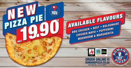 From the @Roman'sPizza kitchen comes an all-new anytime treat! Introducing the Pizza Pie 🍕, available in 6 amazing flavours for Only 19.90 Call 010 593 0865 to place your order!   #BBQ chicken#Beef#Pepperoni#Bolognaise#Chicken Mayo#Mushroom & Margherita https://t.co/j7d0OHuYH3