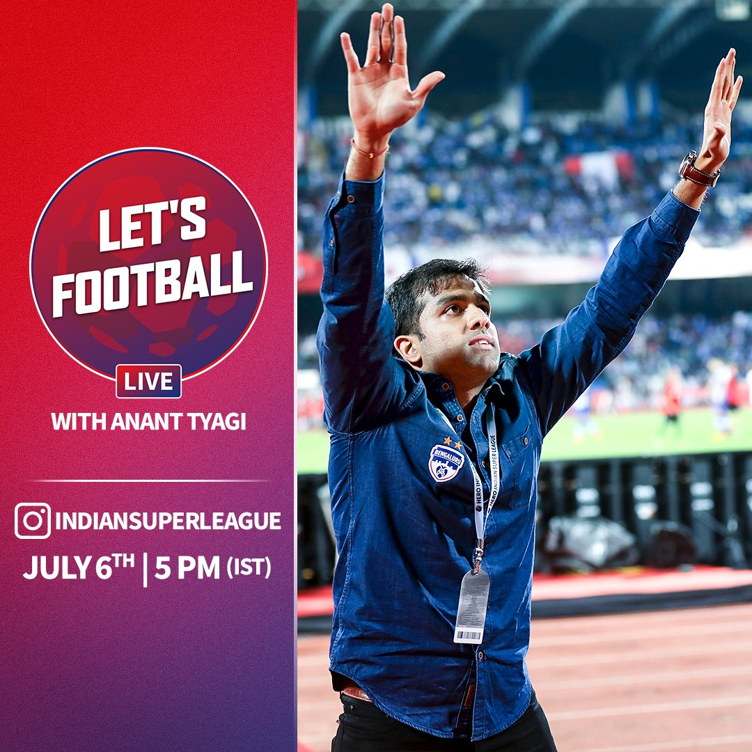 .@bengalurufc owner and director, @ParthJindal11 will join @AnanTyagi_ in our next episode of #LetsFootballLive on Monday at 5 PM. Do send in your questions 👇 #HeroISL