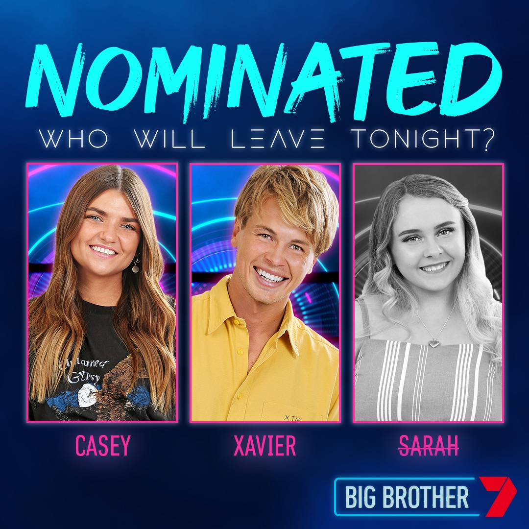 Chad has made his boldest move yet by nominating Sarah, Xavier, Casey. Sarah has played her advantage and removed herself, so will Xavier or Casey go tonight? #BBAU https://t.co/8EGj08K1Gg