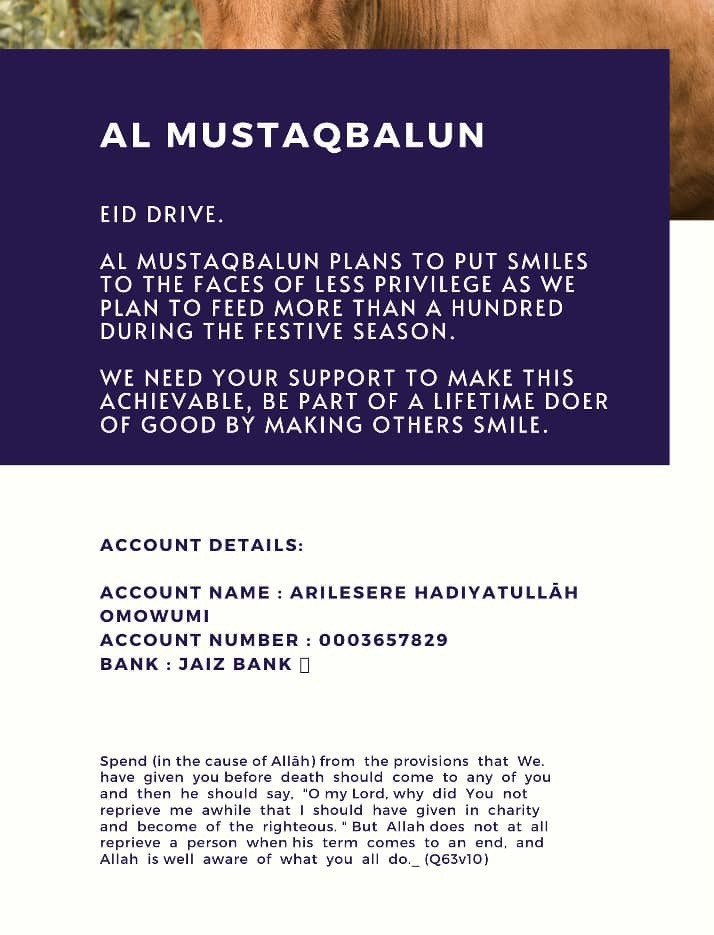 An organisation I belong to plans to feed over a hundred family as the #Eid approaches, the little you give would go a long way.  #EidDrive #EidulAhda #MuslimTwitter #charity #Giving https://t.co/XS0CaS1kQt